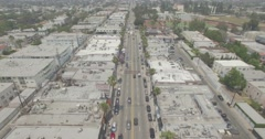 "Aerial ""Pedestal Down"" of Fairfax Avenue in Hollywood, California Stock Footage"