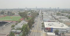 Aerial Hover of Fairfax Avenue in Hollywood, California Stock Footage