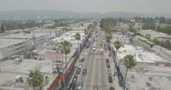 Aerial Flyover of Fairfax Avenue in Hollywood, California Stock Footage