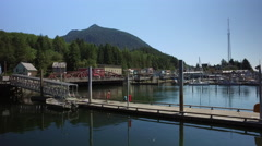 Children Play In The Ketchikan Marina In Downtown Ketchikan Alaska Stock Footage