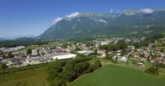 4K Aerial, Flying Around Aera Mont De La Coche, France - graded version Stock Footage