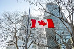 Flags of Canada  in Montreal downtown Stock Photos