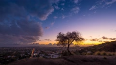 Storm clouds passing Los Angeles cityscape at sunset lone tree 4K timelapse Stock Footage