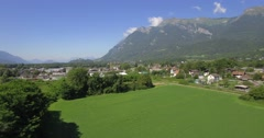 4K Aerial, Flying Around Aera Mont De La Coche, France - native version Stock Footage