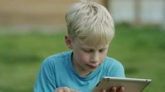 boy using tablet ipad - stock footage