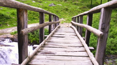 Mountain River and Woody Bridge Stock Footage