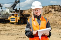 Inspectors in an open pit Stock Photos