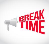 Break time loudspeaker text message Stock Illustration