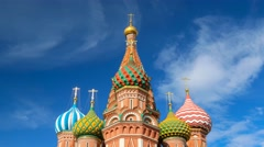 The Saint Basil's (Resurrection) Cathedral tops in Moscow Stock Footage