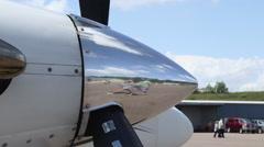 Modern Airplane Chrome Propeller Spinner Stock Footage