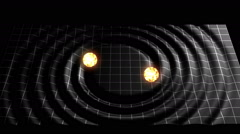 Gravitational Waves formed by two Orbiting Stars Visualization Animation V6 Stock Footage
