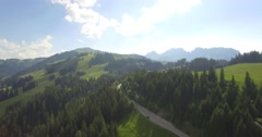 4K Aerial, Flying At Jaunpass, Switzerland - native version Stock Footage