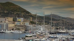 Monaco Monte Carlo Skyline French Riviera Cote d'Azur panorama, ULTRA HD 4K, Stock Footage