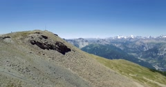 4K Aerial, Flying Above The Summit Of Monte Jafferau, Italy - graded version Stock Footage
