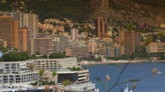 Monaco Monte Carlo Skyline French Riviera Cote d'Azur panorama, ULTRA HD 4K, Stock Footage