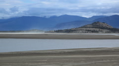 Wizards Isle Kluane Lake Dust Storms over Mud Flats Timelapse Stock Footage