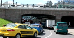 Tverskaya Zastava Square, cars, bridge, driveway Stock Footage