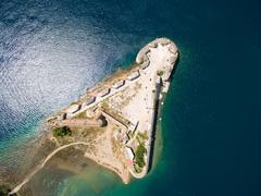 Aerial helicopter shot of St. Nicholas Fortress - Sibenik archipelago - stock photo