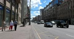 The Central street of Moscow, 1-ya Tverskaya-Yamskaya street Stock Footage