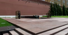 The tomb of the unknown soldier near the Kremlin wall, Eternal fire, guard Stock Footage
