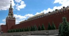 Spasskaya Tower, The Kremlin wall, blue spruce Stock Footage