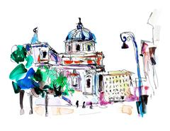 Original freehand watercolor travel card from Rome Italy, old it Stock Illustration