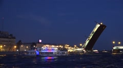 The Liteyny drawbridge opens with numerous boats in front of it Stock Footage
