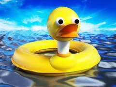 Yellow duck lifebuoy standing on sea surface. 3D illustration Stock Illustration