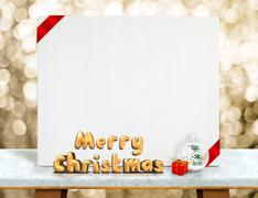 Merry Christmas 3d rendering with xmas ball in front of  white card with red  Stock Photos