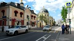 Bolshaya Ordynka, Church Consolation of All Sorrows, the historic city centre Stock Footage