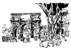 Sketch digital drawing Rome Italy landmark - arch of Konstantine Stock Illustration
