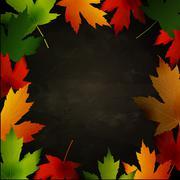 Frame of autumn leaves painted on black chalkboard Stock Illustration