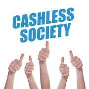 Thumbs up for Cashless society Stock Photos