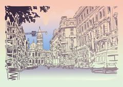 Urban architectural sketch drawing of Italy road cityscape build Stock Illustration