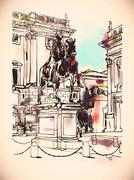 Sketch digital drawing of Rome Italy cityscape with sculpture eq Stock Illustration