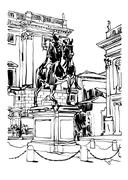Black and white drawing of Rome Italy cityscape with sculpture e Stock Illustration