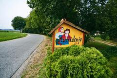 Funny roadside signboard Stock Photos