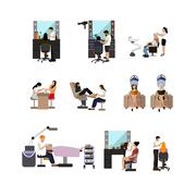 Vector set of beauty salon people isolated on white background. Haircut Stock Illustration
