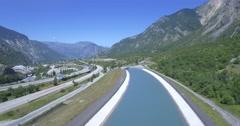 4K Aerial, Flying along Autoroute De La Maurienne, France - native version Stock Footage