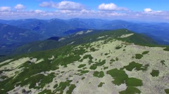 Aerial view of rocky slopes Carpathian mountains Stock Footage