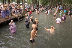SLAVGOROD, BELARUS - AUGUST 14: The Blue Krynica. mass pilgrimage for healing Stock Photos