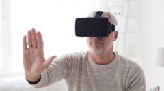 Old man in virtual reality headset or 3d glasses 107 Stock Footage