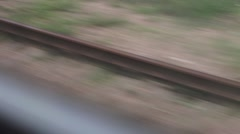 Rail Tracks Through The Window, High Speed, Fast HD Stock Footage