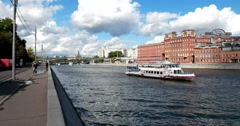 Prechistenskaya embankment, Plant Red October, Moscow river, white boat, Stock Footage