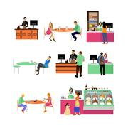Vector set of restaurant employees and visitors. People in cafe icons isolated - stock illustration