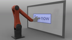 Stylized robot arm clicking Buy now button on the screen. E-commerce online Stock Footage