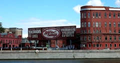 Chocolate factory sign Red October, the embankment of the Moscow river Stock Footage