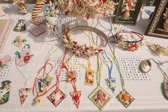 SLAVGOROD, BELARUS - AUGUST 14: Fair exhibition of handicrafts. bijouterie Au Stock Photos