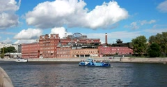 Chocolate factory  Red October, Moscow river, blue boat Stock Footage