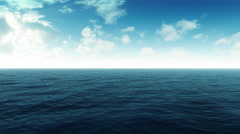 Flying Over Blue Ocean With Clouds Stock Footage